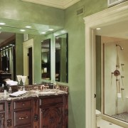 A view of a bathroom designed by Insignia bathroom, cabinetry, ceiling, countertop, estate, floor, flooring, home, interior design, room, wall, window, brown