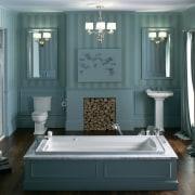 Luxuriating in a deep bath is even more bathroom, bathroom accessory, floor, flooring, furniture, home, interior design, plumbing fixture, room, window, gray, black