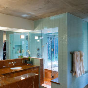 a view of the master bathroom featuring glass architecture, ceiling, daylighting, floor, flooring, home, house, interior design, wall, wood, brown, gray