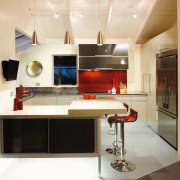 A view of this kitchen featuring quarell and countertop, furniture, interior design, kitchen, white