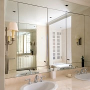 A view of the master bathroom featuring recessed bathroom, bathroom accessory, bathroom cabinet, home, interior design, room, sink, tap, gray