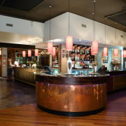 n original brass counter surround was retained and café, interior design, lobby, restaurant, brown, black