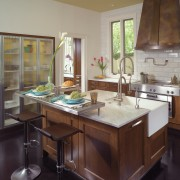 The kitchens island quartz corner sink allows two cabinetry, countertop, cuisine classique, interior design, kitchen, room, window, gray