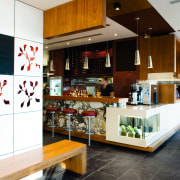 Shades of red add warmth, while chrome and interior design, kitchen, white