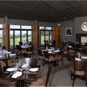 views are extensive from most areas of the restaurant, table, black