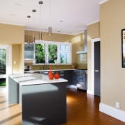 A view of this kitchen featuring Canterbury clay home, interior design, kitchen, real estate, room, gray
