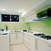 A view of this kitchen design by Ong countertop, interior design, kitchen, property, real estate, gray