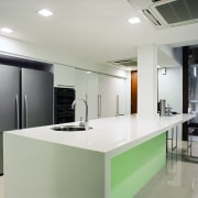 A view of this kitchen design by Ong countertop, interior design, kitchen, product design, real estate, gray