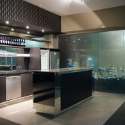 A view of these kitchens designed by Yellowfox countertop, glass, interior design, kitchen, black, gray