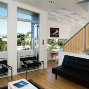 Despite the small interior, the architect did not interior design, penthouse apartment, real estate, window, gray