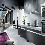A view of this kitchen featuring the latest home appliance, interior design, kitchen, gray, black