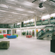 The balustrading in the gallery was made from daylighting, leisure centre, gray