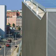 Traslucent acrylic panels ensure natrual daylight penetrates throughtout architecture, building, city, condominium, corporate headquarters, daytime, facade, metropolis, metropolitan area, roof, sky, urban area, gray