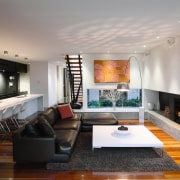 Family living areas in this new city house, ceiling, hearth, interior design, living room, real estate, room, gray, black