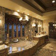 A view of this bathroom featuring gold wave ceiling, countertop, estate, home, interior design, lighting, room, brown