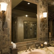 A view of this bathroom featuring gold wave bathroom, ceiling, home, interior design, lighting, room, wall, brown