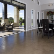 A view of the polished concrete flooring supplied apartment, estate, floor, flooring, hardwood, house, interior design, laminate flooring, lobby, property, real estate, tile, window, wood, wood flooring, gray, black