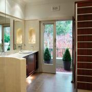 A view of the master ensuite, tiled floors bathroom, door, estate, floor, flooring, home, house, interior design, real estate, room, window, brown