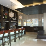 Designed by Tom Skyring in conjunction with Studio café, interior design, lobby, restaurant, black, gray