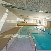 An interior view of the ian thorpe aquatic architecture, daylighting, leisure, leisure centre, sport venue, structure, swimming pool, gray