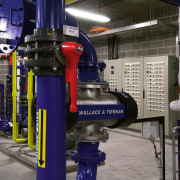 A view of water filtration and regulation systems automobile repair shop, engineering, factory, industry, machine, manufacturing, technology, gray, black