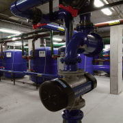 A view of water filtration and regulation systems machine, technology, gray, black