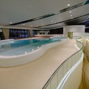 An interior view of the ian thorpe aquatic leisure, leisure centre, sport venue, swimming pool, gray