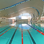 A view of the Ian thorpe Aquatic centre fixed link, indoor games and sports, leisure, leisure centre, recreation, sport venue, structure, swimming pool, water sport, gray, teal