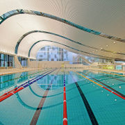 A view of the Ian thorpe Aquatic centre fixed link, leisure, leisure centre, recreation, sport venue, structure, swimming pool, teal, white