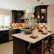 view of kitchen by Insignia Kitchen and Bath cabinetry, countertop, cuisine classique, interior design, kitchen, room, black