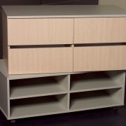 Available in a wide range of colours and cabinetry, chest of drawers, chiffonier, drawer, furniture, product, product design, shelf, shelving, sideboard, black, orange