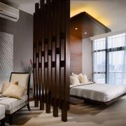 A view of the master bedroom, carpet, lights, bed frame, bedroom, ceiling, interior design, interior designer, room, suite, wall, window, gray, black