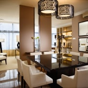 A view of the dining area, tiled flooring, ceiling, dining room, furniture, interior design, living room, room, table, brown