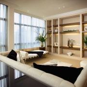 A view of the living area, carpet, cream ceiling, home, interior design, living room, room, window, orange, brown