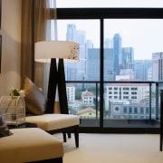 A view of the living area, carpet, lamps, condominium, furniture, home, interior design, living room, room, suite, window