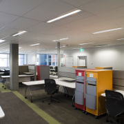 A view of this office area featuring an ceiling, classroom, interior design, office, product design, gray