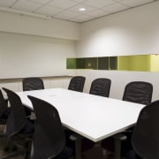 An interior view of the office building  conference hall, furniture, interior design, office, table, gray, black