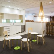 An interior view of the office building  classroom, furniture, institution, interior design, table, gray, black