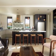 The uncluttered look of the kitchen is a furniture, interior design, living room, real estate, room, white