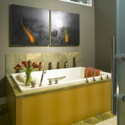 A view of this bathroom featuring a pearwood bathroom, interior design, room, sink, brown