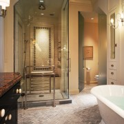 A view of this bathroom designed by Marshall bathroom, ceiling, estate, floor, flooring, home, interior design, room, tile, brown