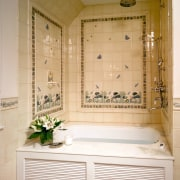 A view of this bathroom designed by Marshall bathroom, bathroom cabinet, floor, home, interior design, plumbing fixture, room, tile, white, orange, brown