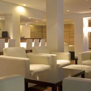 A view of the revamped hotel lounge bar café, function hall, interior design, lobby, restaurant, brown, orange