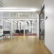 A view of the SLA offices in Kuala ceiling, floor, flooring, interior design, loft, wood flooring, gray