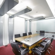 A view of the SLA offices in Kuala ceiling, conference hall, daylighting, interior design, office, product design, table, white