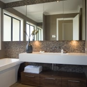 A view of some bathroom tiles from the bathroom, cabinetry, countertop, floor, flooring, home, interior design, room, sink, gray, brown