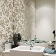 The Hansamorano tap from european manufacturer Hansa provides bathroom, ceiling, floor, flooring, interior design, room, tile, wall, gray