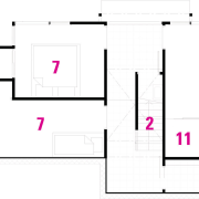 1 Living room. 2 Stairs. 3 Dining room. angle, area, design, diagram, floor plan, font, line, pattern, product design, purple, rectangle, square, text, white
