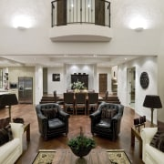 To provide a uniform look in the open-plan ceiling, furniture, hardwood, home, interior design, living room, room, gray