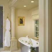 A view of this bathroom designed by Clive bathroom, ceiling, estate, floor, flooring, home, interior design, room, window, gray, brown